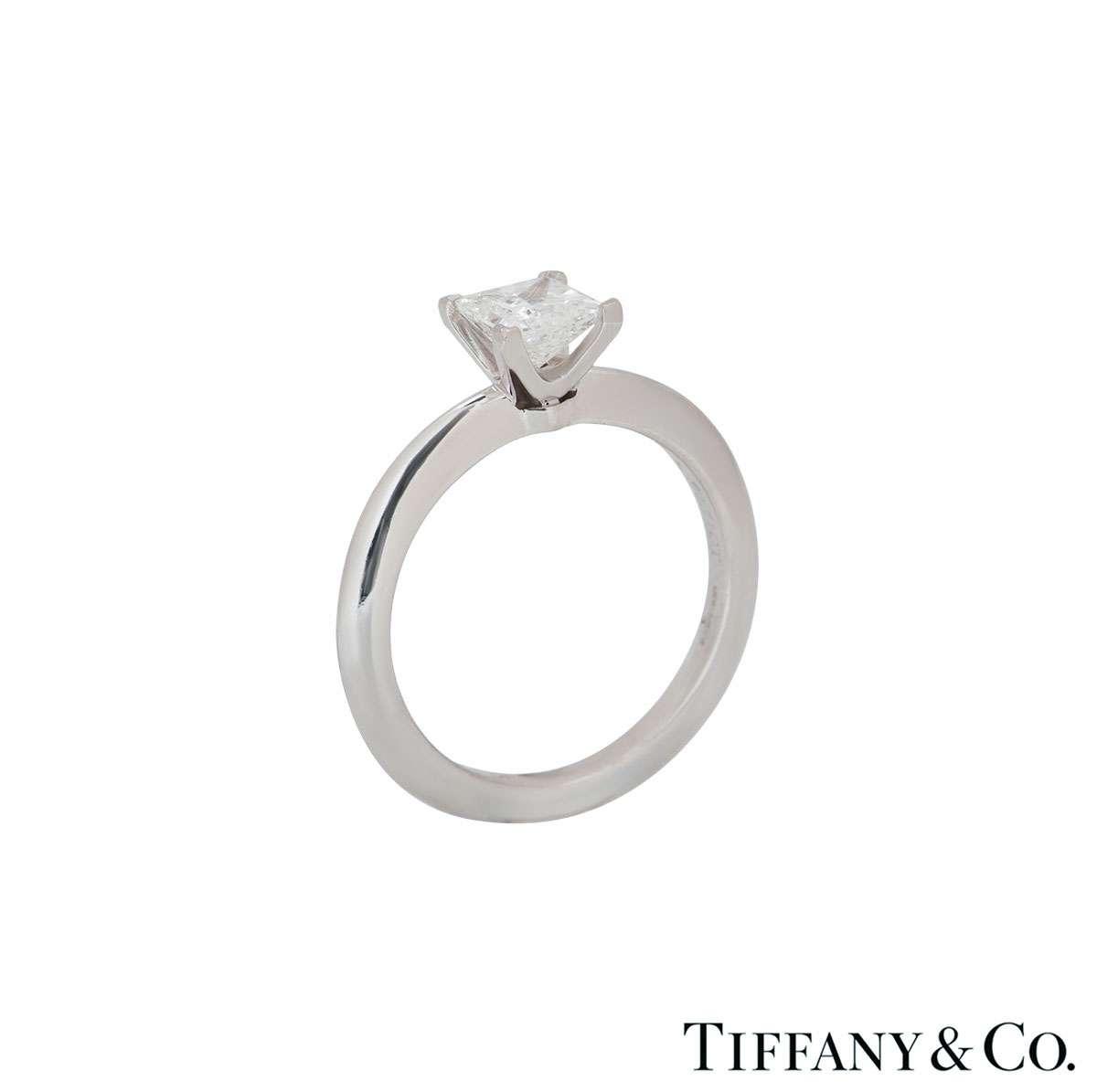 Tiffany & Co. Platinum Princess Cut Diamond Ring 0.71ct G/VVS1